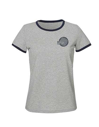 Contrast T-Shirt Damen (Gr. XS-XL) -100% Bio-BW  (Heather Grey/Navy und Cream Heather/Cranberry)