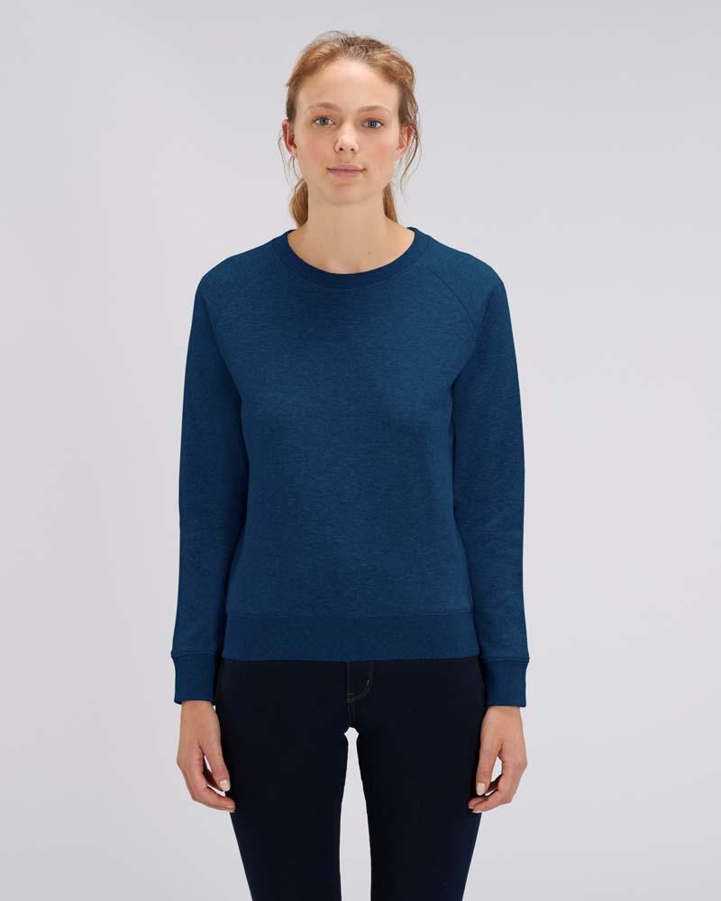 NEU Sweatshirt DAMEN Rundhals - (XS - XL)  - 85/15 (heather grey, cotton pink und black heather blue)